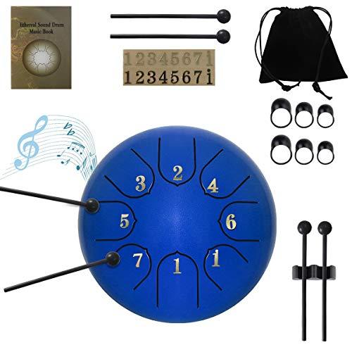 ZHRUNS - Tambor de lengua de acero de 8 tonos, 6 pulgadas, instrumento de percusión, tambor de mano con bolsa, mazo, púas de dedos, pegatinas para meditación personal, yoga, zen, azul