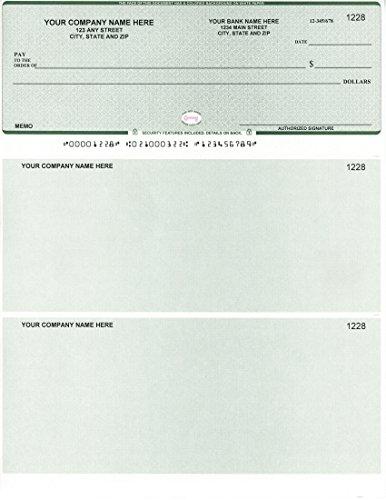 Computer Checks - 250 Printed Laser Computer Voucher Checks - Compatible for QuickBooks/Quicken Software - Scalop Green