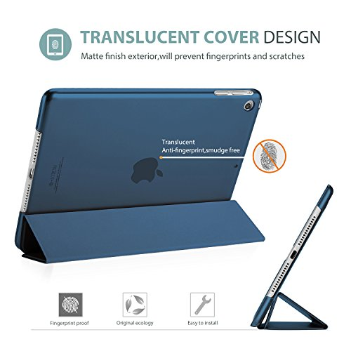 ProCase iPad Air Ultra Dünn Smart Hülle, Leichte Stand Schutzhülle Shell mit Translucent Frosted Rückhülle für Apple iPad Air (A1474 A1475 A1476) –Navy