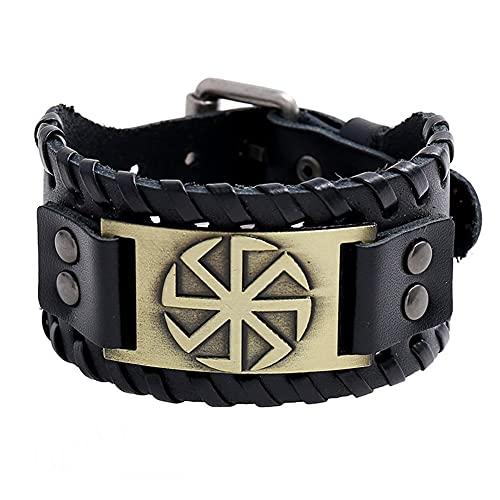 DFWY Pulsera de Cuero Slavic Kolovrat for Hombres Mujeres, Brazalete Vikingo Ajustable Talismán Pagano, Gótico Vintage Trenzado Wide Leather Wristband Nordic Jewelry (Color : Bronze)