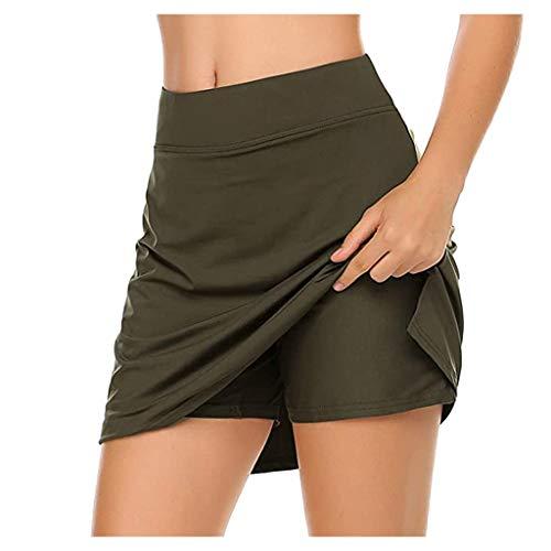 Damen Sport Hosenrock mit Tasche Tennisrock Skirt für Laufen Tennis Golf Leichter Workout Rock Gefälschten Zweiteiligen Hakama Kleider (A-Armeegrün, M)