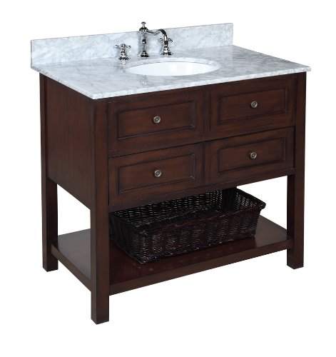 Kitchen Bath Collection KBCD666CARR New Yorker Bathroom Vanity with Marble Countertop, Cabinet with Soft Close Function and Undermount Ceramic Sink, Carrara/Chocolate, 36