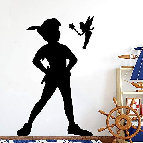 XCSJX Cartoon Peter Pan Wendy Wandtattoo Kindergarten Kinderzimmer Tinkerbell Peter Pan Fee Wandaufkleber Schlafzimmer Spielzimmer Vinyl Decor 56 cm hoch x 35 cm breit
