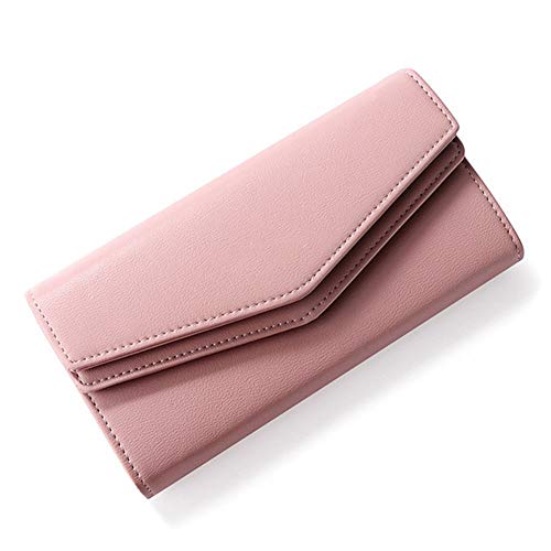 W Wallet Geometric Envelope Clutch Wallet for Women Female Leather Purse Card Holders Coin Phone Pocket Long Wallets (Color : Dk Pink, Size : A)