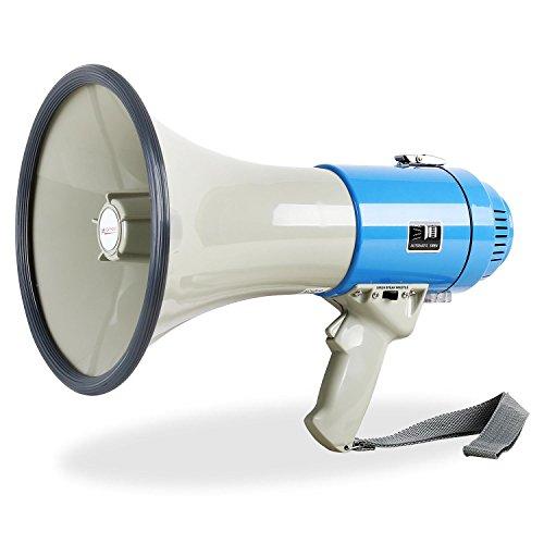 auna Megáfono Convexo Gama (80 W, Alcance de hasta 1000 Metros, Volumen Ajustable, Sirena, diseño Robusto y Resistente, Peso Ligero, Correa para el Hombro) - Gris Azul