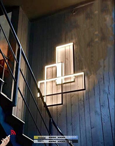 LED Wandleuchte Wohnzimmerlampe Modern Dimmbar Wandlampe mit Fernbedienung, 45W Schlafzimmerlampe Schwarz Eckig Acryl Lampenschirm Design Deckenleuchte für Innen Esszimmerlampe Küchelampe Flurlampe