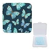 Yumansis Caja Almacenamiento Mascarillas Para Mascarillas Desechables Ligero Y Reutilizable Protege Suciedad Y Polvo Mariposa Azul 11cmx19cm