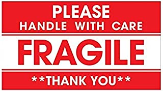 Rubik 250 Fragile Label Stickers for Safe Shipping, Red Fragile Please Handle With Care Thank You Warning Stickers Label (...