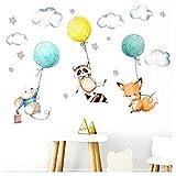 Little Deco Aufkleber Babyzimmer Tiere & Luftballons I Größe Waschbär mit Ballon 9 x 25 cm (BxH) I Fuchs Sterne Maus Kinderzimmer Wandtattoo Mädchenzimmer DL508