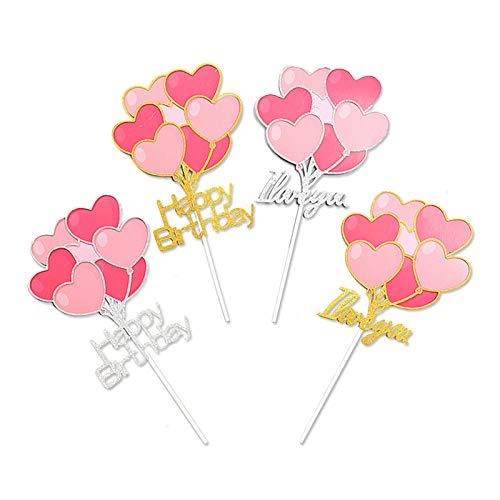 N/D Yemiany Cake Topper Cuore,Cake Topper,2PCS Heart Happy Birthday e 2PCS Ti Amo Cake Topper per San Valentino Festa di Compleanno Cupcake Dessert Forniture Decorazione (Argento, Oro, 20x10CM)