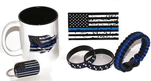 11.oz American Flag/Police Thin Blue Line Coffee Cup | Police Gift | Stars and Stripes Wristbands | Thin Blue Line Key Chain | American Flag Decal for Police