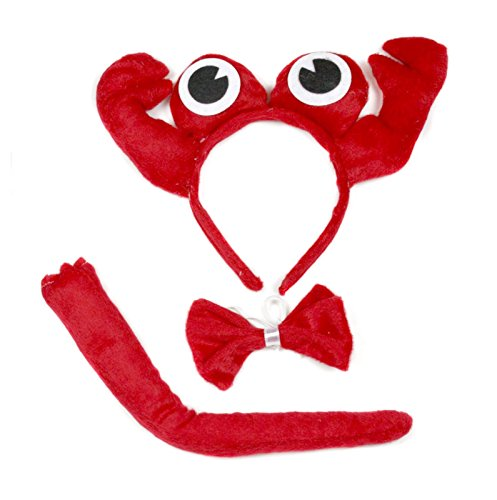Cute Red Crab Headband Bowtie Tail 3pc Costume for Children Halloween or Party (Red)