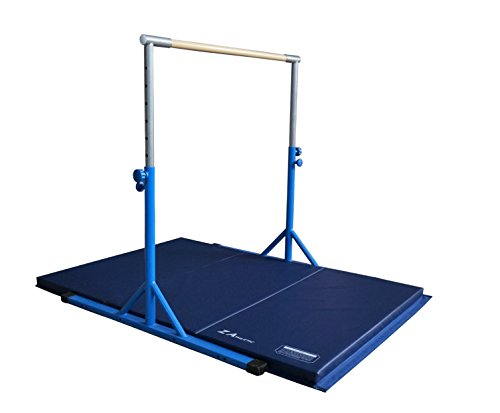 Z ATHLETIC Expandable Kip Bar Adjustable Height for Gymnastics, Training & 4ft x 6ft x 2in Mat (Blue)