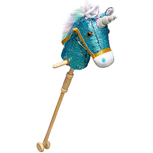 HollyHOME Sequin Unicorn Stick Horse with Wood Wheels Real Pony Neighing and Galloping Sounds Plush Unicorn Toy Blue 36 Inches(AA Batteries Required)