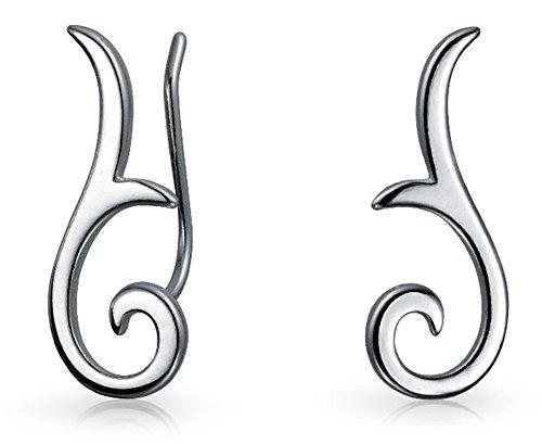 Minimalistische Geometrische Tribal Scroll Ohr Pin Crawler Kletterer Ohrringe Für Frauen Für Jugendlich Sterling Silber