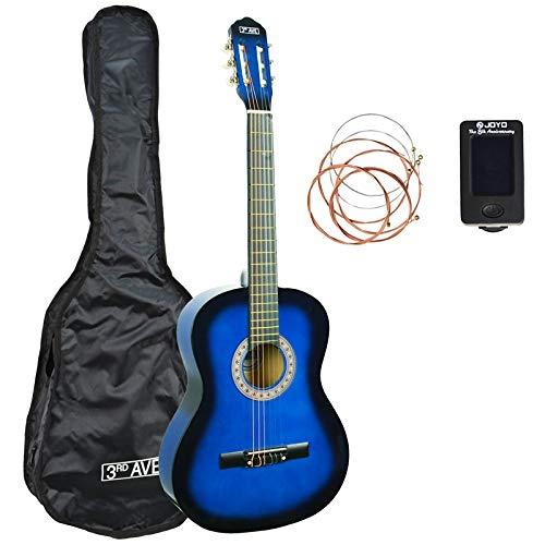 3rd Avenue STX20ABBPK Paquete de guitarra clásica de tamaño completo, Azul (Blueburst) , Paquete