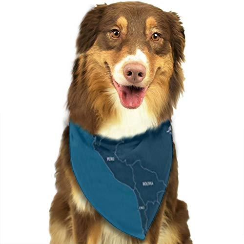 fgjfdjj Mittel- und Südamerika Karte Hund Geburtstag Bandana Pet Lätzchen Plaid Wendbarer Dreieck Schal Für Hunde Katzen Kostüm
