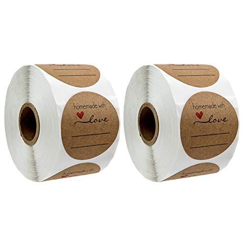 1000 Stück Kraft Selbstgemacht mit Liebe Aufkleber Label WJWJS Papier Abdichtung Aufkleber Etiketten Rund Selbstklebend Backen Geschenktüten Hochzeit Geschenkaufkleber Geschenksticker für