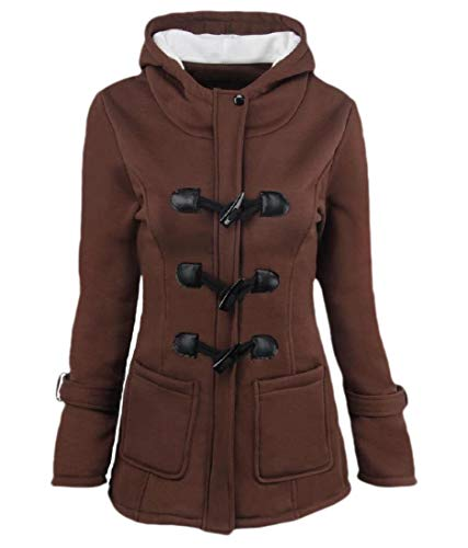 yibiyuan Womens Pea Coats Outdoor Warm Wool Blended Hoodies Jackets Casual Zip Up Button Outwears Coffee M
