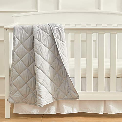 EXQ Home Toddler Comforter Baby Quilt Blanket Soft Lightweight,39×47 Inches Polyester Toddler Nursing Blanket for Infant and Newborn, Ultra Soft for Crib Bed,Stroller,Travel(Silver Grey)