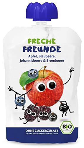 FRECHE FREUNDE Bio Quetschie Apfel, Blaubeere, Johannisbeere & Brombeere, Fruchtmus im Quetschbeutel für Babys ab dem 6. Monat, glutenfrei & vegan, 100 g