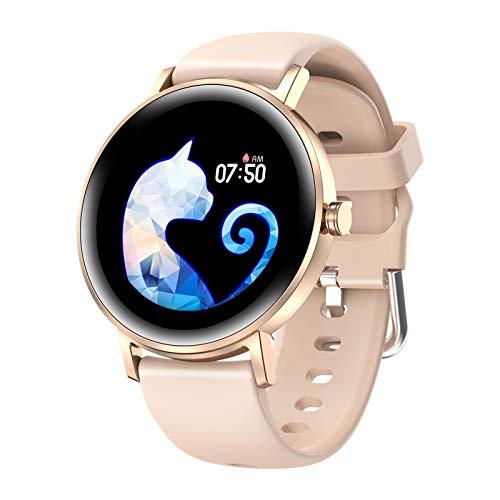 HQPCAHL Smartwatch | Reloj Inteligente | Pulsera De Actividad IP67 | Pulsómetro Y Monitor De Presión Arterial | BT Music | Multideporte,Oro