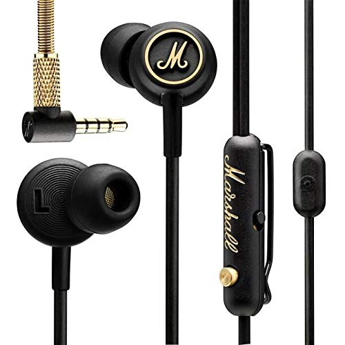 Marshall EQ Earphones -Marshall-Auricolari in-ear, colore: Nero/Ottone