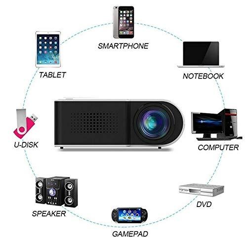 ZQALOVE Moda Mini proyector Beamer for el Teatro casero del Cine con la señal de vídeo estéreo Altavoz Full HD 1080P HDMI HD proyector portátil (Plugs Type : US)