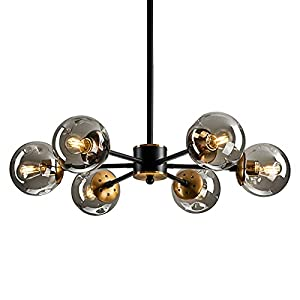 6 Light Chandelier , Large Ceiling Light Fixture with Glass Classic, Black Pendent Lighting for Living Room Bedroom Bathroom Farmhouse Kitchen