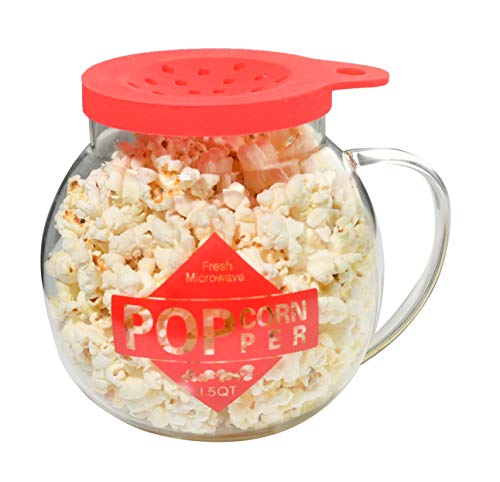 Best Bargain Home-X Microwave Popcorn Maker 1.5 Quart Microwavable Popper | Temperature Safe Glass, ...