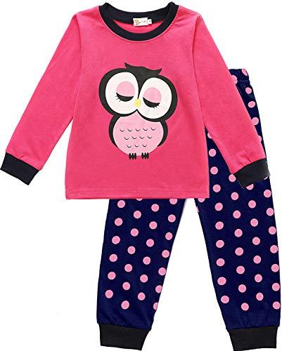 EULLA Kinder Schlafanzug Mädchen Lang Giraffe Pyjama Marienkäfer Nachtwäsche, D-rosa-2 , EU 104(3-4Jahre)=Tag 110
