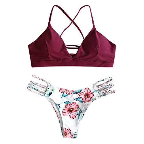 KEERADS Damen Bikini-Set Geblumtes Bikini Set mit Schnürung Push Up Gepolsterte Bademode