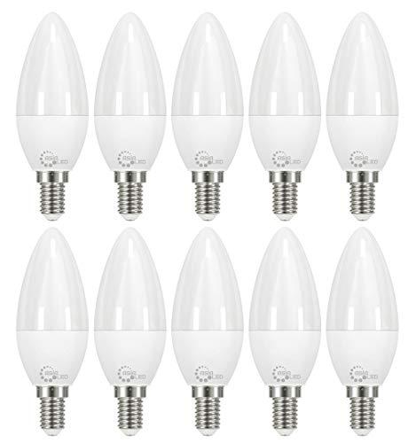 ASIA LED - 10 x Lampadina LED Candela E14 C37 8W , 800 Lumen, Fascio Luminoso 220°, Non Dimmerabile [Classe di efficienza energetica A+] (Luce Fredda 6000k)