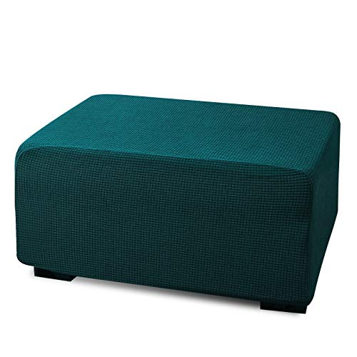 Argstar Stretch Ottoman Cover for Living Room, Jacquard Rectangle Ottoman Slipcover, Teal Elastic Footstool Slipcover, Green Blue Folding Storage Stool Furniture Protector (Dark Cyan)