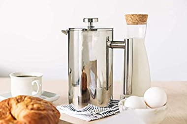 Mixpresso Stainless Steel French Press Coffee Maker 34 Oz 1L Double Wall Metal Insulation Coffee Press &Tea Brewer Easy C