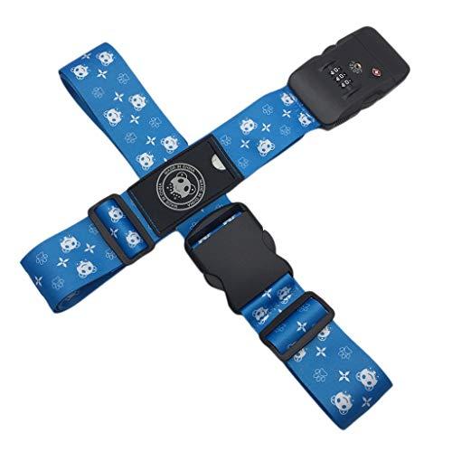 Toygogo 1 Paar Einstellbar Kofferband Koffergürtel Gepäckriemen mit Schloss Gurtband Tragegurt - Blau