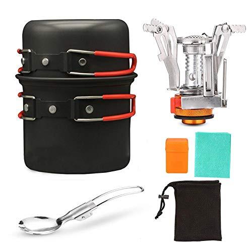 HAOXIU Juego de 2 ollas de camping para 2 personas, utensilios de cocina de aluminio, equipo de cocina portátil, vajilla para exteriores, senderismo, pícnic