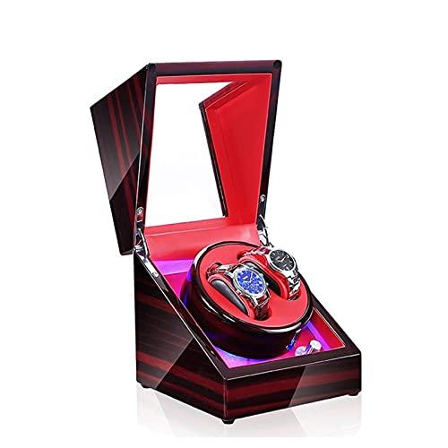 HEZHANG Watch Box Reloj de Madera de Gama Alta Winder 5 Modos 2 Asientos Azul Atmósfera Lámpara Reloj Automático Winders con Función de Parada de Abrigo,D