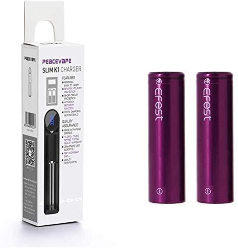 PEACEVAPE Slot singolo K1 con EFEST 3.5K mah 20A IMR Batteria singola piatta ad alto drenaggio (2 in un pacchetto) per Starter Kit sigaretta elettronica e MOD