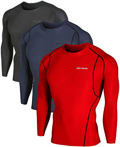 DEVOPS 3 Pack Men's Athletic Long Sleeve Compression Shirts (Small, Black/Charcoal/Red)
