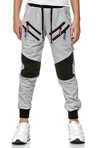 XRebel Kinder Junge Jogging Hose Jogger Streetwear Sporthose Modell W09 (Gr. 16 (164-170), Grau)