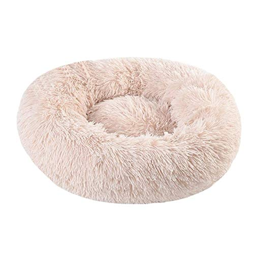 YMYGCC Pet Bed Round Dog Bed Long Plush Pet Beds For Little Medium Large Pets Puppys Mat Kennel Couch For Dogs Cats Basket 54 (Color : Light Beige, Size : 90cm diameter)