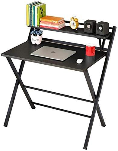 Mesa plegable para ordenador, escritorio simple para salón, dormitorio, oficina, color natural y negro