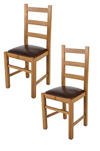 Tommychairs - Set 2 sillas Rustica para Cocina y Comedor, Estructura en Madera de Haya Color Roble y