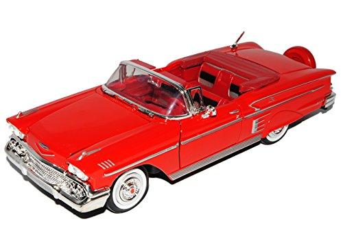 Motormax Chevrolet Chevy Impala Cabrio Rot Offen 1958 Oldtimer 1/24 Modell Auto