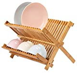 Lawei Collapsible Bamboo Dish Drying Rack - Plate Holder Dish Rack Cup Drying Strainer for Dish, Plate, Bowls, Cup