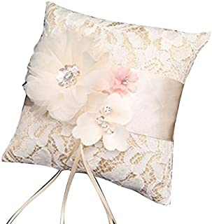 Aisheny 1Pc Floral Lace Ring Pillows, Bridal Wedding Ceremony Pocket Bearer Cushion Pillow Cushion with Ribbon (Color : Beige)