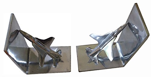 indofrance F-16 Bücherstützen aus gebranntem Aluminium mit Kampfjet-Motiv