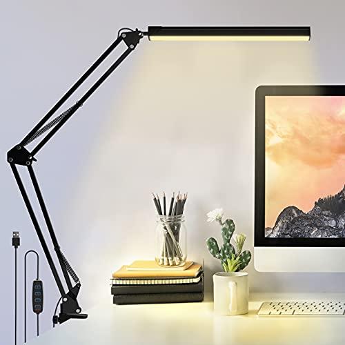FOZHUATR Schreibtischlampe LED Dimmbar Klemmbar 10W Tischlampe Bürolampe mit 3 Farb & 10 Helligkeitsstufen,Verstellbarem Arm Faltbar,Memory Funktion,USB-Ladeanschluss für Büro, Lesen, Arbeiten, Lernen