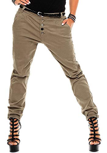 Sublevel Damen Boyfriend Chino Hose LSL-248 inkl. Gürtel Light Brown/Design 09 L